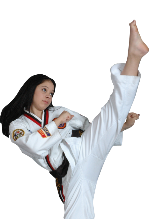 woman high kicking