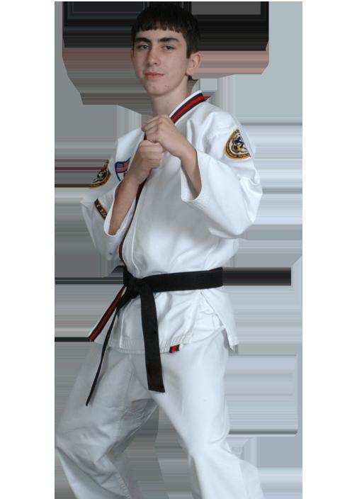 teen boy in ready stance