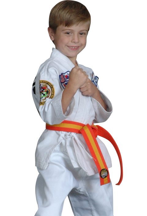 boy in karate stance
