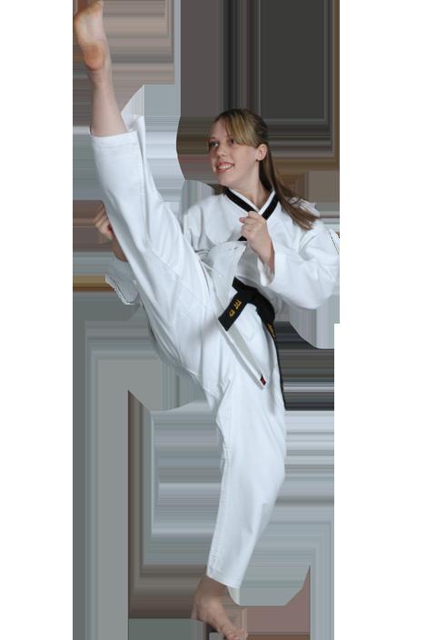 girl doing a high kick